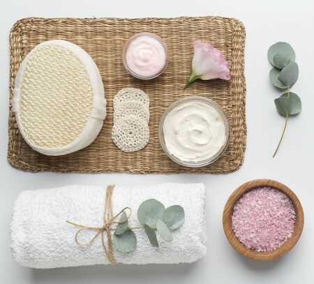 Eco friendly spa products with organic materials on white background 版權商用圖片