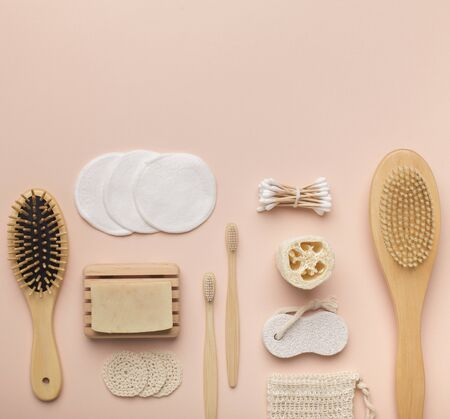 Set of eco cosmetics and products for bath on pink background, copy space