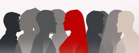 Suffering anxiety and social phobia in public spaces. Visual metaphor of loneliness. Red female silhouette among similar gray people shadows, panorama