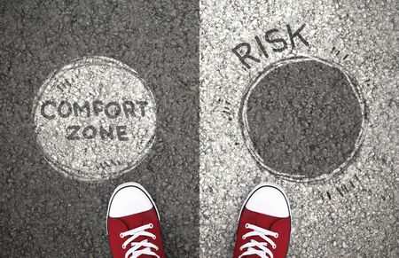 Comfort Zone Or Risk. Dilemma between staying with your habits or taking chance to change