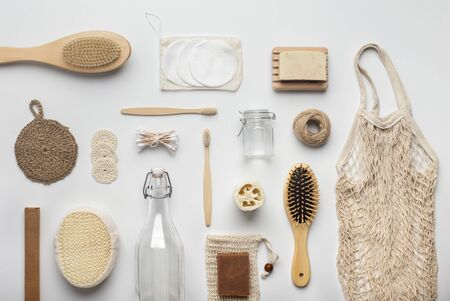 Zero waste, Plastic free. Sustainable lifestyle concept. Assortment of bamboo bath accessories and other eco products, white background Stock fotó