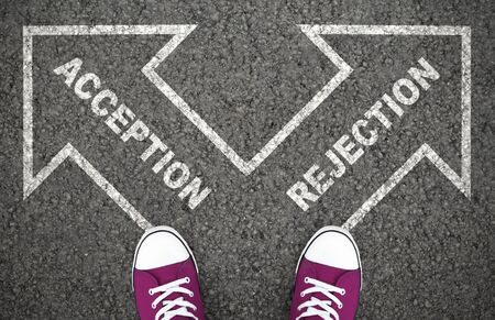 Acception Or Rejection Decision At Crossroad. Approved or Disapproved, Yes and No, Right or Wrong Destination Stock fotó