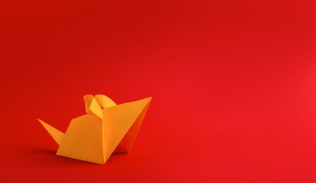 Chinese new year 2020 rat zodiac origami paper yellow on red background, panorama, copy space
