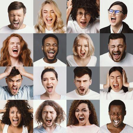 Gente enojada gritando. Conjunto de diversos hombres y mujeres gritando, emociones y sentimientos negativos. Foto de archivo