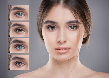 Beautiful woman next to different color of eyes collage, grey background, eye lens concept