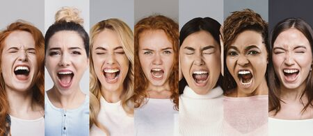 Angry women screaming. Collage of young interracial group of girls shouting in fury, demonstrating negative emotions and bad mood, panorama Reklamní fotografie