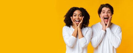 Happily surprised. Overjoyed interracial couple standing with opened mouths, emotionally reacting to good news, yellow background, panorama with copy space