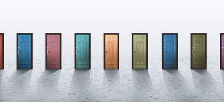Luck, fortune concept. Variation of multicolor doors over gray background, panorama