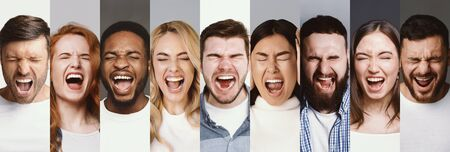 Anger Concept. Collage of diverse multiracial people screaming, angry men and women shouting with closed eyes, panorama