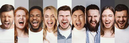 Concepto de ira. Collage de diversas personas multirraciales gritando, hombres y mujeres enojados gritando con los ojos cerrados, panorama