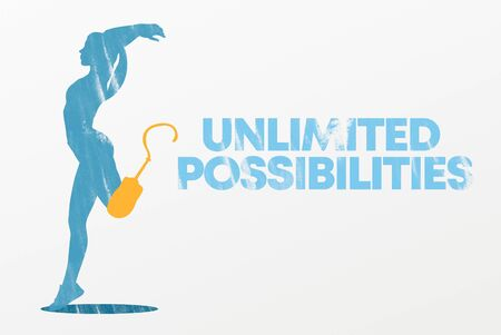 Graphic image of sporty woman with leg prosthesis in motion, unlimited possibilities lettering, grey background, international day of people with disabilities