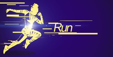 Zebra silhouette of sporty woman jumping over blue background, run yellow lettering, panorama, running and fitness concept