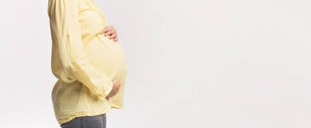 Unrecognizable Pregnant Lady Touching Belly Posing Over White Background In Studio. Side View, Panorama, Free Space