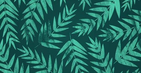 Jungle Tree Leaves Seamless Pattern. Exotic tropical rain forest greenery on dark green background. Botanical illustration Banco de Imagens