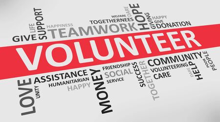 Volunteer Wordcloud On White Background With Words Related To Volunteering Teamwork, Charity And Donation. Panorama