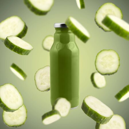 Fresh and eco. Detox drinks of natural components, flying cucumber slices on green background