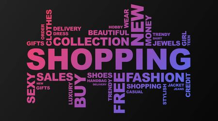 Shopping Wordcloud On Black Background With Violet Words Related To Buying Trendy Clothes In Shop. Panorama