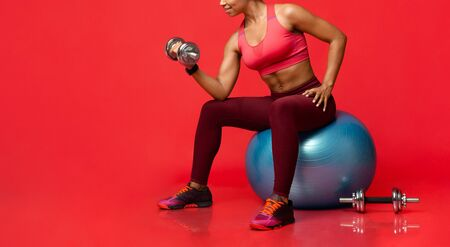 Ladies gym. Sporty afro girl exercising with barbells, sitting on fitness ball, cropped, panorama with free space