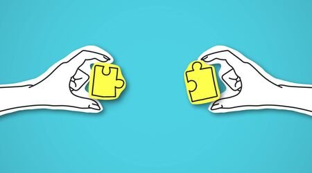 Two hands with yellow shining puzzles over blue background as symbol of collaboration
