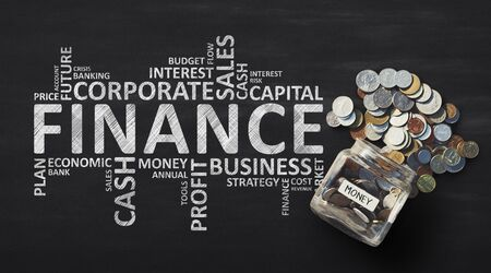 Finance Wordcloud With Money Savings In Jar Over Black Background. Financial Concept. Panorama Reklamní fotografie