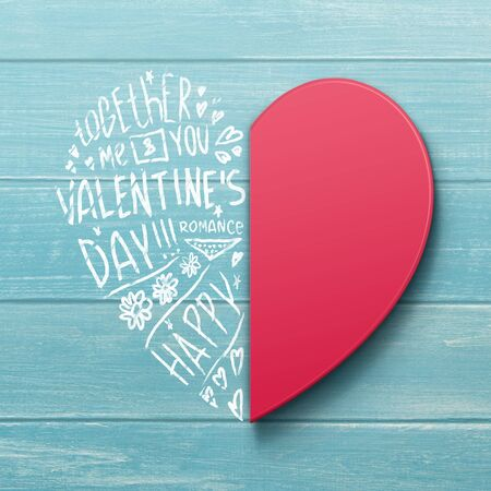 Valentines Day Card. Heart Made Of Two Halves Paper Cut And Romantic Wordcloud Over Blue Wooden Background. Banco de Imagens