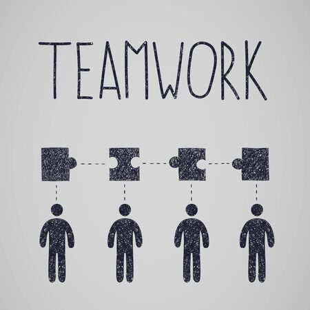 Group of creative people with jigsaw puzzles connecting in one line above and teamwork lettering, schematic of teamwork and cooperation