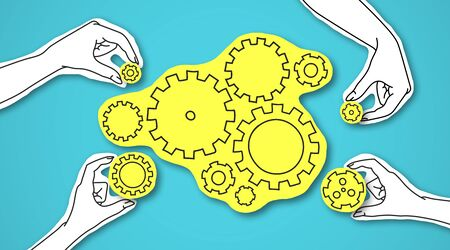 Paper hands fixing shining yellow gear as symbol of cooperation, blue background, panorama