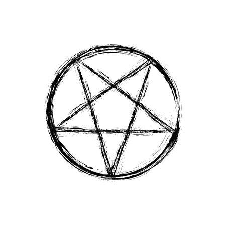 Okkultes Symbol. Umgekehrte Pentagrammzeichnung auf weißem Hintergrund, Pentacle-Illustration, vertikales Bildplakat Standard-Bild