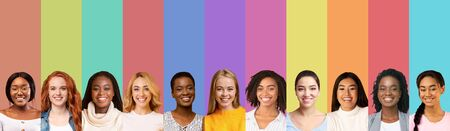Rainbow collage of multiracial smiling young girls over colorful backgrounds, panorama
