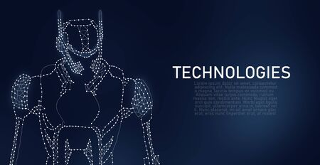 Technologies Concept. The particles, geometric art, line and dots of AI. Illustration of robot. Place for text, copyspace