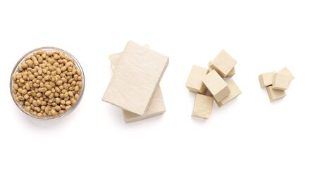 Transformation of soybean: soybeans, tofu cheese and soya chunks. Free space
