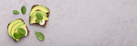 Snacks with tofu, slices of avocado and baby spinach on gray texture background. Panorama, free space