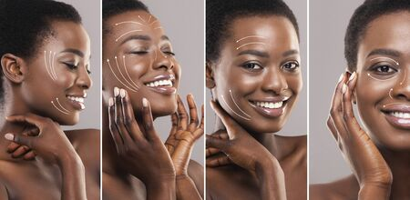 Beauty concept. Young African American woman with perfect skin after face lifting or plastic surgery, collage Archivio Fotografico