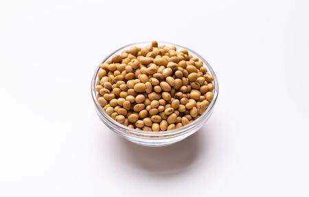 Organic Food of the Future. Soybeans in plate on white background, free space Stockfoto