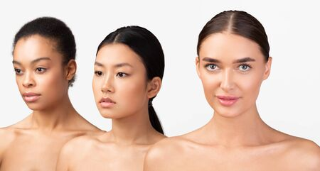 Three Naked Multiethnic Girls Posing In Studio Over White Background. Diverse Female Beauty Beauty. Panorama, Selective Focus