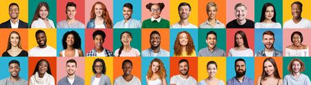 Collage Of Diverse People Portraits With Smiling Millennials, Female And Male Faces On Colorful Backgrounds. Panorama Stock fotó