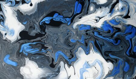 White, gray, black and blue marble texture background, panorama