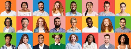 Mosaic Of Cheerful Multiethnic People Faces Posing On Colorful Backgrounds. Panorama