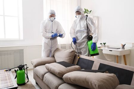 Home disinfection by cleaning service, surface treatment from coronavirus, steam disinfection Archivio Fotografico
