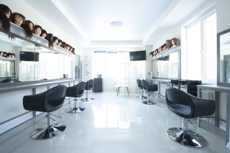 Barbershop interior. Places to make new haircut, inside, empty screen