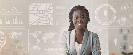 Personal security concept. Data of African American businesswoman, double exposure of office with info on virtual display, blank space. Panorama