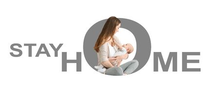 Coronavirus quarantine concept. Young mother with cute baby and text STAY HOME on white background, creative collage