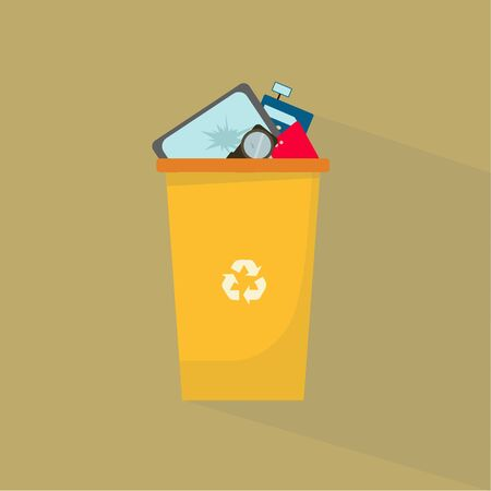 Technological waste recycling. Yellow trash can with broken electronic devices, vector illustration Illustration