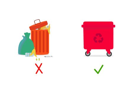 No to Environmental contamination . Full dustbin with different garbage vs recycling trash can