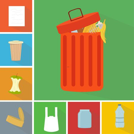 Waste recycling necessity. Full trash bin with mixed garbage and different kinds of trash, conceptual vector illustration