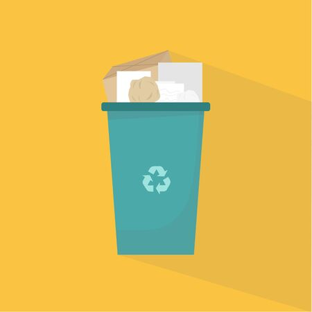 Waste recycling concept. Blue trash can for paper litter with recycle symbol, vector illustration