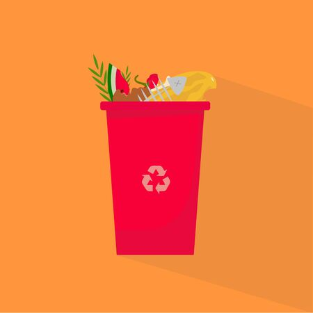 Waste recycling concept. Red trash can for organic garbage with recycle symbol, vector illustration