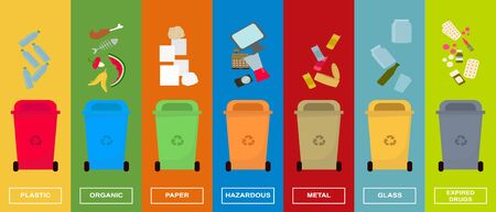 Waste sorting concept. Colorful dustbins for various kinds of sorted garbage set, vector illustration