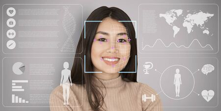 Global pandemic outbreak concept. Face scanning of Asian woman, collage with private information on transparent screen. Panorama