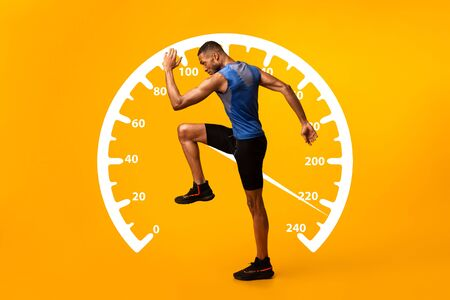 Velocity concept. Collage with African American sportsman walking or running and speedometer on orange background